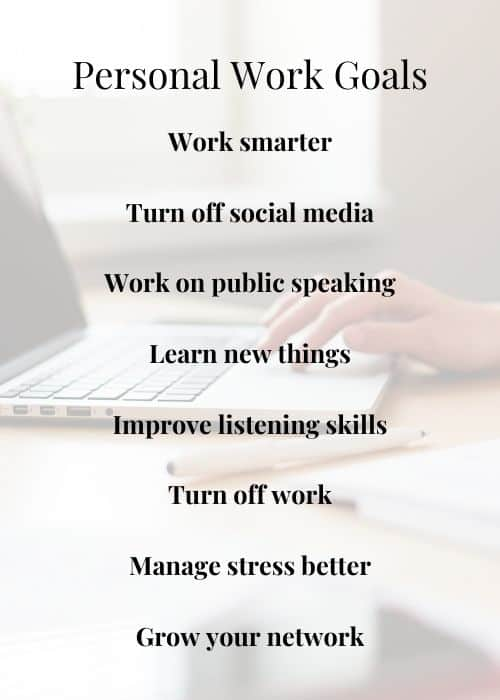 personal goals for work infograph