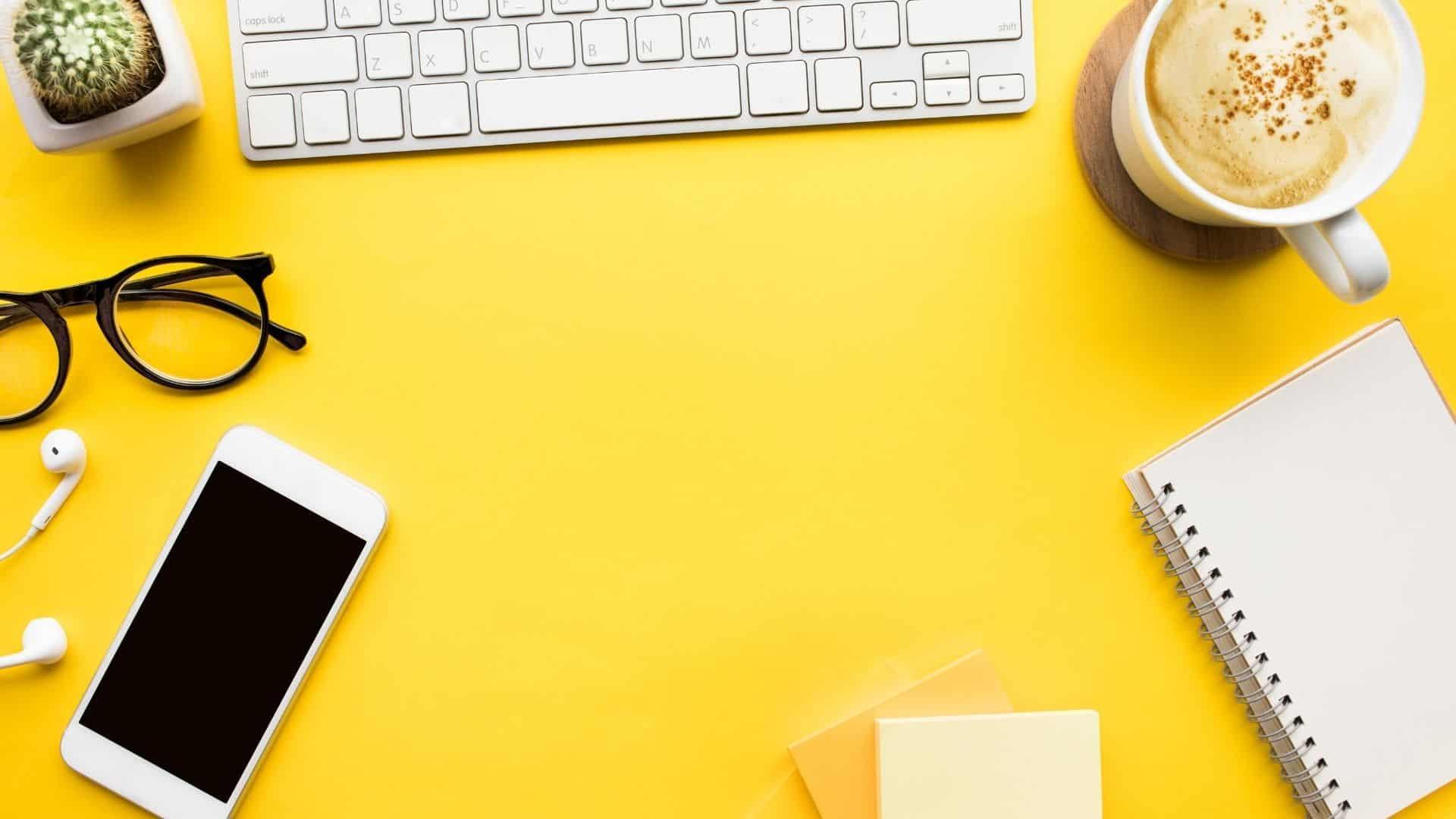 a yellow desk-11 Pinterest tips blog