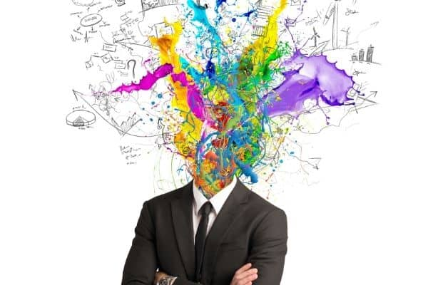 vector of man's head explosion of words and colourful