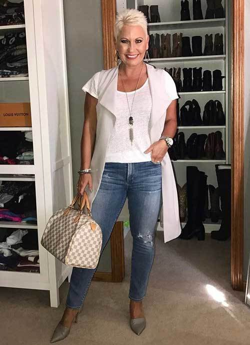 woman over 50 in fashionable clothes